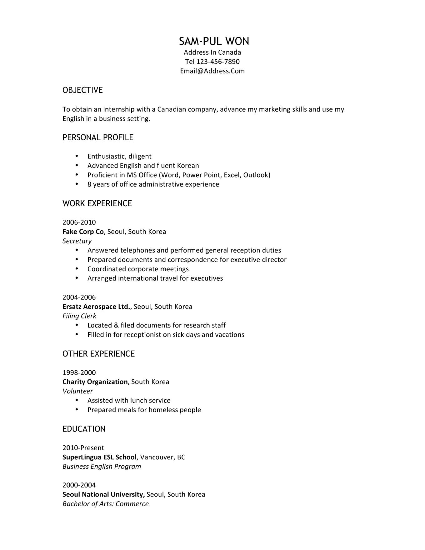 Resume For Student Visa