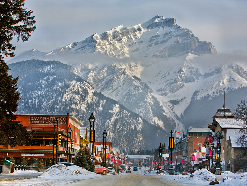 work and travel in Canada snowy banff national park